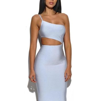 New Style White One Shoulder Strap Cut Out Midi Sexy High Fashion Bandage Dress Evening Dresses For Women Club Wear