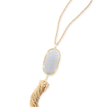 Kendra Scott Rayne Slate Cat's Eye Gold Necklace with Tassel
