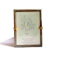 Pooh. Winnie the pooh. Winnie the pooh nursery. Vintage pooh. Pooh bear. Pooh quote. Classic pooh . Classic pooh nursery. Brass frame.