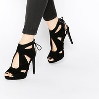 KG By Kurt Geiger Hattie Black Suede Heeled Sandals at asos.com
