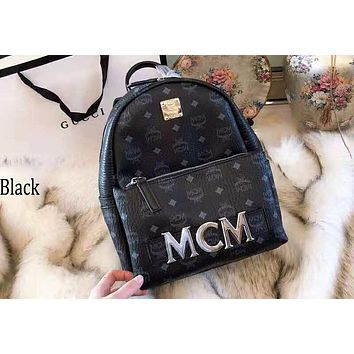 MCM 2018 new rivet printing large capacity backpack casual fashion backpack black