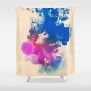 Psychedelic Ink Splash Watercolor Girl Portrait Shower Curtain by Pepe Psyche