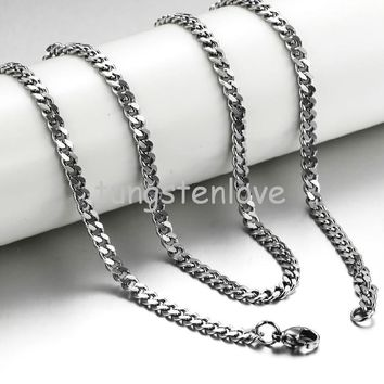 Fashion 20 Inch Fashion Mens Stainless Steel Hypoallergenic Chunky Curb Link Chain Necklace 3.5mm width