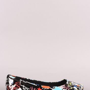 Bamboo Printed Pointy Toe Ballet Flat