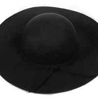 Generic Vintage Women Lady Wide Brim Wool Hats Floppy Cloche Cap (Black)