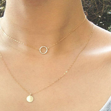 Round Ring necklace, Halo necklace, simple everyday necklace, Gold Filled necklace