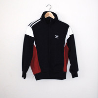 retro Adidas track jacket 1980s vintage red white and blue zip up athletic jacket small