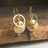 Champagne Coin Pearl Earrings, Brass Ring Earrings, Dangle and Drop Earrings, Etsy, Etsy Jewelry