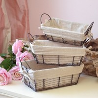 French Style Set of 3 Nesting Baskets with Fabric Liner