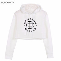 BLACKMYTH CAMERON Print Sweatshirt Long Sleeve Crop Hoodies Women's Hoody Sweatshirts Female Top