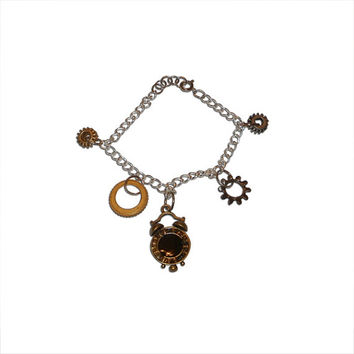 Steampunk Clock and Gears Charm Bracelet