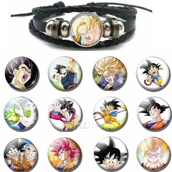 Fashion Accessories Dragon Ball Vintage Son Goku Super Saiyan Jewelry Glass Dome Black Button Leather Bracelet Gifts
