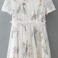 White Two Piece Bird Printed Lace Dress