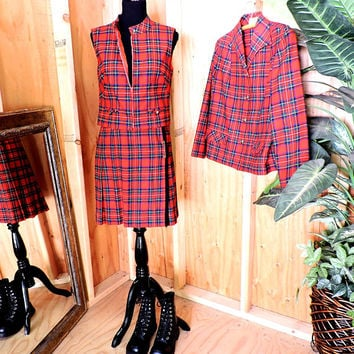 Pendleton suit / S size 5 / 6 / womens kilt / 3 piece wool tartan skirt suit / red plaid skirt vest blazer / vintage 60s Pendleton suit