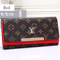Louis Vuitton LV  Women Leather Multicolor Buckle Wallet Purse