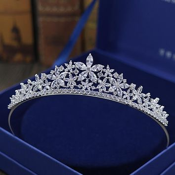 Stunning Cubic Zircon Wedding Tiara Pearls Bridal Queen Princess Pageant Party Crown Cosplay
