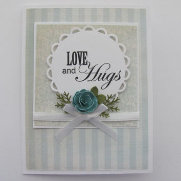Love and Hugs, Sympathy Card, Condolence Card, Teal, Thinking of You Card