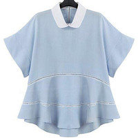 Light Blue Doll Collar Chiffon Short Sleeves Ruffled Top
