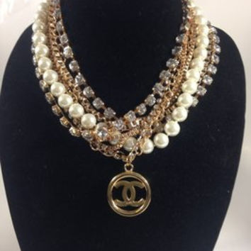 Pearl Rhinestone And Gold Necklace W Chanel Charm (Handmade)