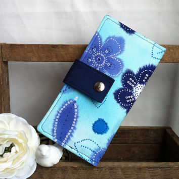 Womens handmade wallet, bifold wallet in shades of blues, credit card wallet, bill slots, coin pouch