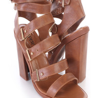 Brown Strappy Open Toe Single Sole Booties Faux Leather