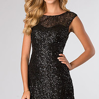 Cap Sleeve Black Sequin Cocktail Dress by Alyce Paris