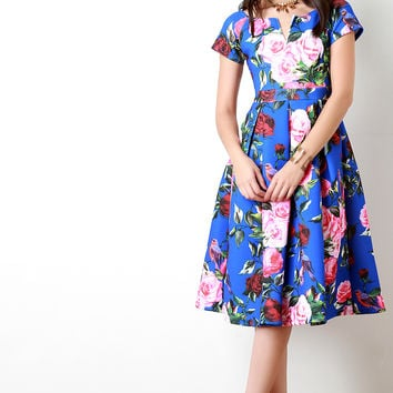 Neoprene Boat Neck Pleated Rosette Dress