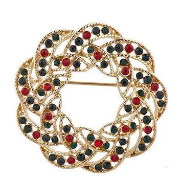 Lux Accessories Gold Tone Green Red Rhinestones Wreath Christmas Xmas Brooch Pin