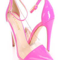 Pink Clear Side Single Sole Heels Patent