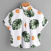 Leaf Print Cuffed Pocket Top