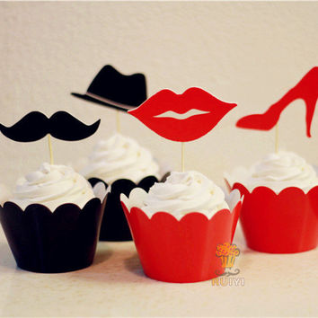 192pcs/lots lips and Mustache, high-heeled shoes & hat cupcake wrappers decoration wedding party favors cake toppers