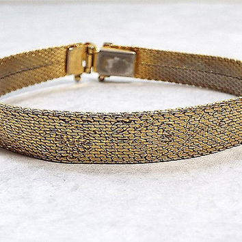 Monet Vintage Mesh Bracelet Gold Tone with Rose Floral Pattern and Box Clasp Womens Gift Mid Century Jewelry