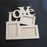 Amazing Love Wooden Photo Frame White Base DIY Photo Picture Frame Desktop HOT (Color: Wood brown) = 1652914116