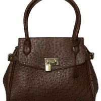 Chocolate Brown ''Ostrich Embossed'' Structured Tote