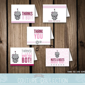 Robot card bundle - Thank you cards | Lunchbox Notes | Cute Robot Girl Birthday Party | Printable DIY Digital File