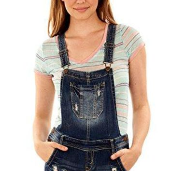 WallFlower Women's Juniors Denim Shortalls