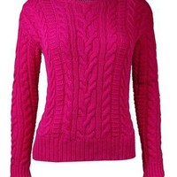 Lauren Ralph Lauren Women's Crewneck Cable Knit Sweater