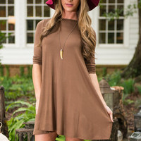 I Chic Therefore I Am Dress, Brown