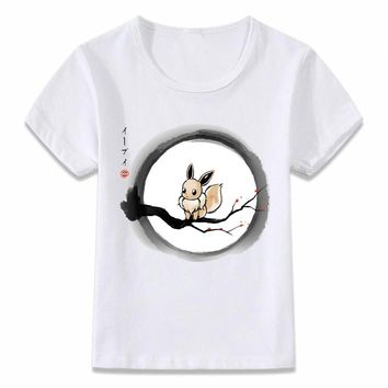 Kids Clothes T Shirt  Under The Moon Eevee Psychic Children T-shirt for Boys and Girls Toddler Shirts TeeKawaii Pokemon go  AT_89_9