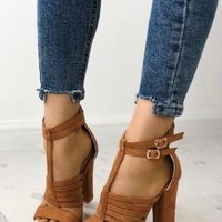 Buckle Design Hollow Out Chunky Heel Sandals