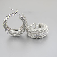 Sterling CZ Hoop Earrings. Rope Twist Cubic Zirconia Omega Back Pierced Chunky Hoop Earrings.
