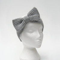 Big gray bow headband knitted hair bow chunky ear by jarg0n