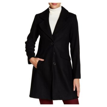 CeCe by Cynthia Steffe Three Button Wool Blend Coat, Size 12 - 16