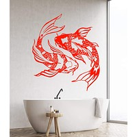 Vinyl Wall Decal Koi Carp Japanese Fish Asian Style Yin Yang Stickers Unique Gift (1425ig)