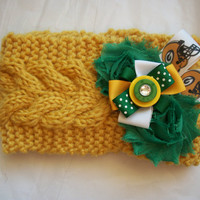 Women's Crochet Green Bay Packers NFL Football Ear Head Warmer Knit Headband