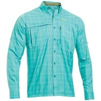 Under Armour Flats Guide Long Sleeve Plaid Shirt - Men's Small - Neptune / Feldspar