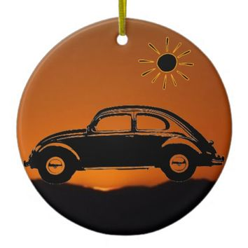 Classic Bug Double-Sided Ceramic Round Christmas Ornament