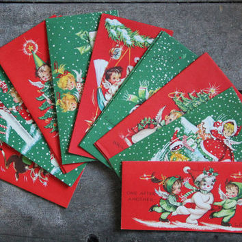 vintage christmas greeting cards / Eve Rockwell / heavenly cherubs,