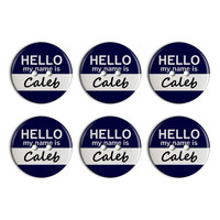 Caleb Hello My Name Is Plastic Resin Button Set of 6