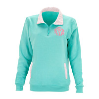 Monogram Mint & White Gingham Preppy Pullover Sweatshirt with Pockets